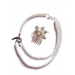 """Collier perles crème couleur argent bohème """"Feather"""""""