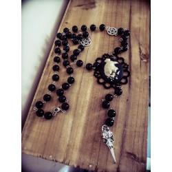 Collier rosaire perles noires Harry Potter phoenix ♰Serdaigle♰