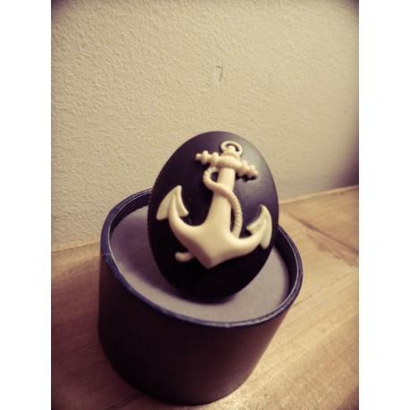 """Bague réglable bronze cabochon camée ancre marine """"Sailor Jerry"""""""