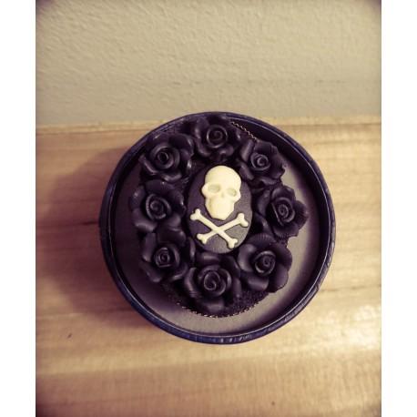 """Bague réglable bronze cabochon camée goth """"Cupcake Skulls"""""""