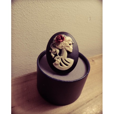 Bague réglable bronze cabochon calavera dia de los muertos mexican gypsy bohème ♰Skulls & Roses♰