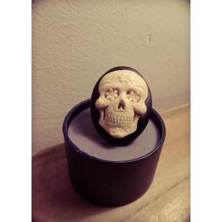 Bague réglable bronze cabochon calavera dia de los muertos mexican gypsy bohème ♰Skull♰