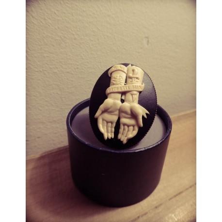 Bague réglable bronze cabochon calavera dia de los muertos mexican gypsy bohème ♰Je ne regrette rien♰