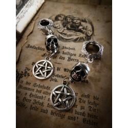 Plug expander laiton 8 mm argenté dentelle calavera dia de los muertos pentagram ♠Skull♠