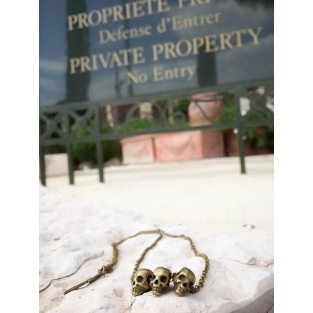 collier bronze 3 têtes de mort steampunk skulls Chrome Angel Hearts Baby