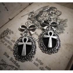 Boucles d'oreilles argentées cabochon feutrine ankh égyptien boho chic ♠ Cleopatra ♠