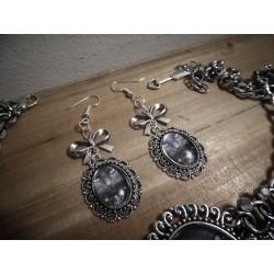 Boucles d'oreilles argentées camée pentagram esoteric ♰666 Cat 666♰