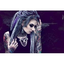 Collier argenté dentelle pentagram double lune ♠ Witchy ♠