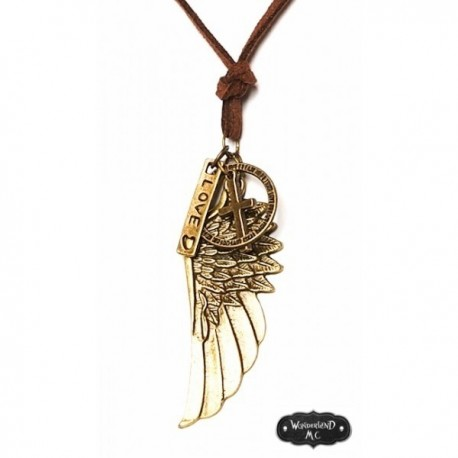 "Collier bronze plumes ""Fitch"" steampunk"