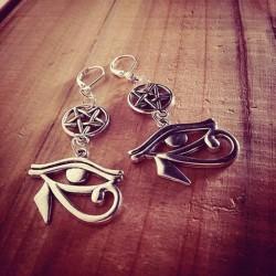 Boucles d'oreilles argentées dentelle pentagram ♠ Cleopatra ♠