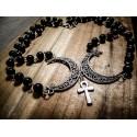 Chapelet rosaire double argenté moon ankh ♰Wicca♰