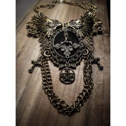 Collier plastron dentelle bronze doré pentagram ♰666 Antechrist 666♰