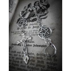 Boucles d'oreilles argentées dentelle pentagram ♠ 666 Antechrist 666 ♠