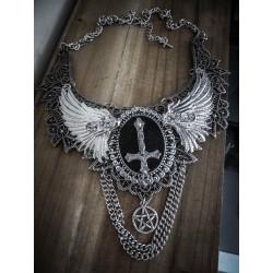 Collier plastron dentelle argenté pentagram croix ♰ 666 Antechrist 666 ♰