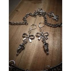 Boucles d'oreilles argentées noeud Alice au pays des merveilles ♠ Le Lapin Blanc ♠