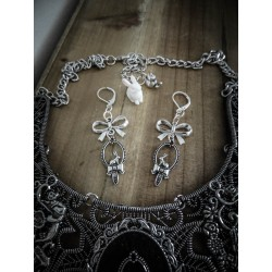 Boucles d'oreilles argentées noeud miroir Alice au pays des merveilles ♠ Le Lapin Blanc ♠