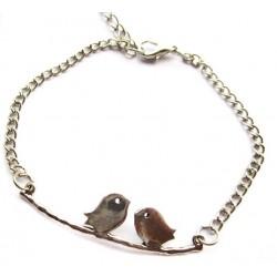 Bracelet argenté oiseaux branche steampunk