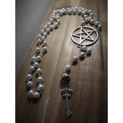 Chapelet rosaire ivoire argenté pentagram goth ♰666 Skull 666♰