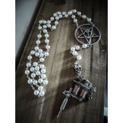 Rosaire chapelet perles ivoire pentagram ancre pistolet tattoo gun ♰Sailor Jerry♰