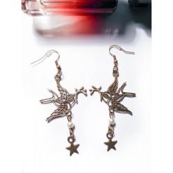 Boucles d'oreilles bronze Colombe perles et étoiles