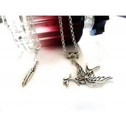 Collier métal argentée Tattoo Bird Hirondelle Peace and Love