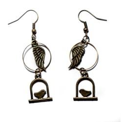 Boucles d'oreilles bronze plumes et oiseaux
