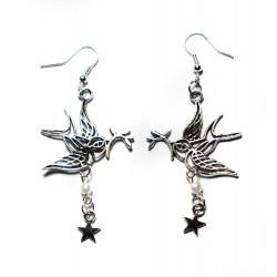 Boucles d'oreilles argentées Colombe perle et étoile