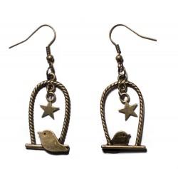 Boucles d'oreilles bronze steampunk oiseaux étoiles