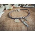 Bracelet cuir gris argenté Plume Bouddha et étoile Bohème Koh Lipe