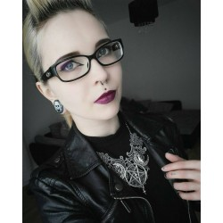 Collier maxi plastron dentelle argenté goth pentagram ♰666 Devil Catcher 666♰