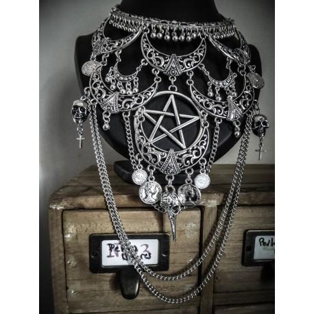 Collier maxi plastron lune argenté goth skullbird pentagram ♰666 Devil Catcher 666♰