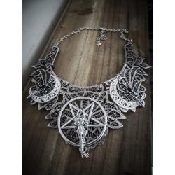 Collier maxi plastron dentelle argenté goth pentagram ♰666 SkullBird 666♰