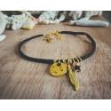 Bracelet cuir noir doré Plume et étoile Bohème Koh Lipe