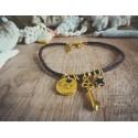 Bracelet cuir marron doré Clef et étoile Bohème Koh Lipe