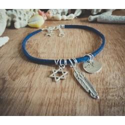 Bracelet cuir bleu argenté Plume et Etoile de David Bohème Koh Lipe