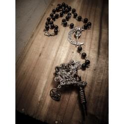 Rosaire chapelet perles noires pentagram ancre pistolet tattoo gun ♰666 We ❤ Kat 666♰