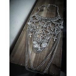 Collier maxi plastron lune argenté goth ankh pentagram ♰666 Egyptian Goddess 666♰