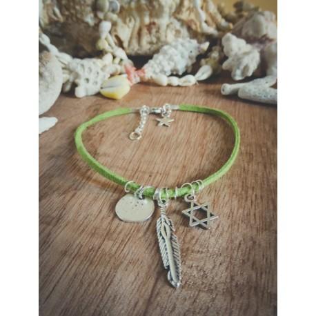 Bracelet cuir vert argenté Plume et Etoile de David Bohème Koh Lipe