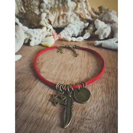 Bracelet cuir rouge bronze Plume et Etoile de David Bohème Koh Lipe