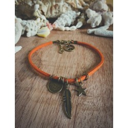 Bracelet cuir orange bronze Plume Peace and Love Bohème Koh Lipe