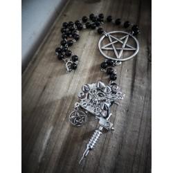 Rosaire chapelet perles noires pentagram ancre pistolet tattoo gun ♰666 Ryan 666♰