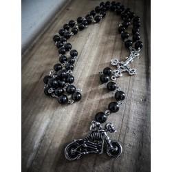 Rosaire chapelet perles noires mixte moto croix ♰666 Ghost Rider 666♰
