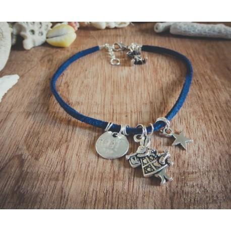 Bracelet cuir bleu argenté Alice aux pays des merveilles Bohème Koh Lipe