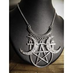 Collier plastron argenté pentagram ankh bohème tribal ♰Wicca Doll♰