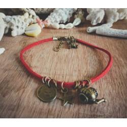 Bracelet cuir rouge bronze Alice aux pays des merveilles Bohème Koh Lipe