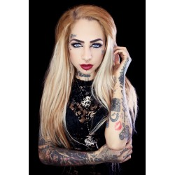Rosaire chapelet perles noires licorne pistolet tattoo gun ♰Fantasy Queen♰