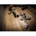 Rosaire chapelet perles noires mixte croix skullbird ♰Vampire King♰