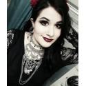 Collier maxi plastron lune argenté goth ankh pentagram ♰666 Cleopatra 666♰