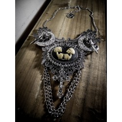 Collier maxi plastron dentelle argenté goth pentagram lune croix ♰The Conjuring ♰
