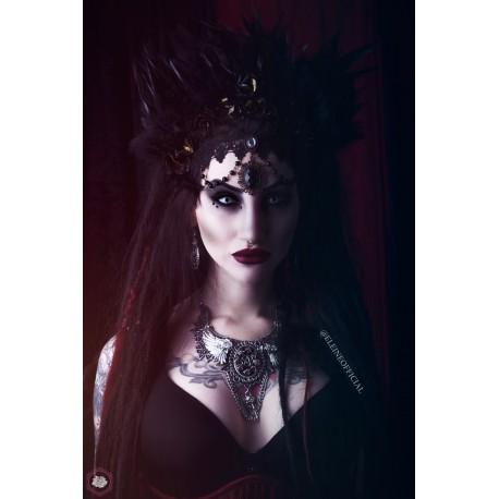 Collier plastron dentelle argenté pentagram croix spikes ♰ 666 Vampiria 666 ♰